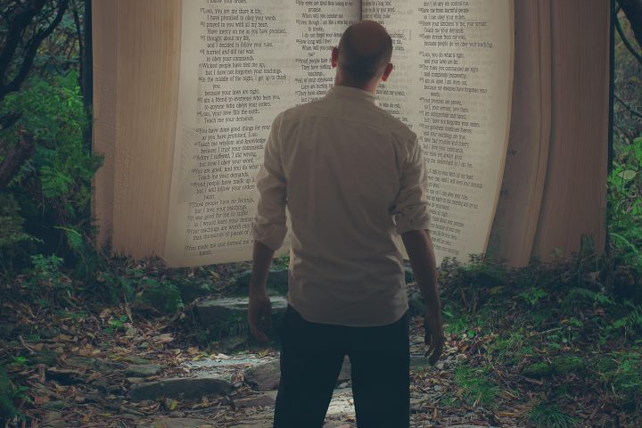 A man comes across an open Bible in the forest