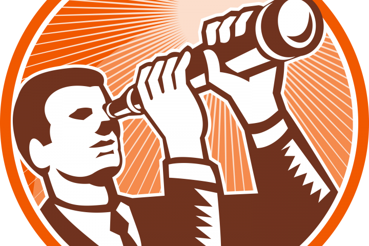 Stylized drawing of a man looking through a spyglass