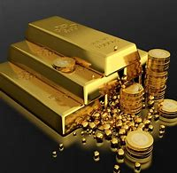 Picture showing gold bars and coins