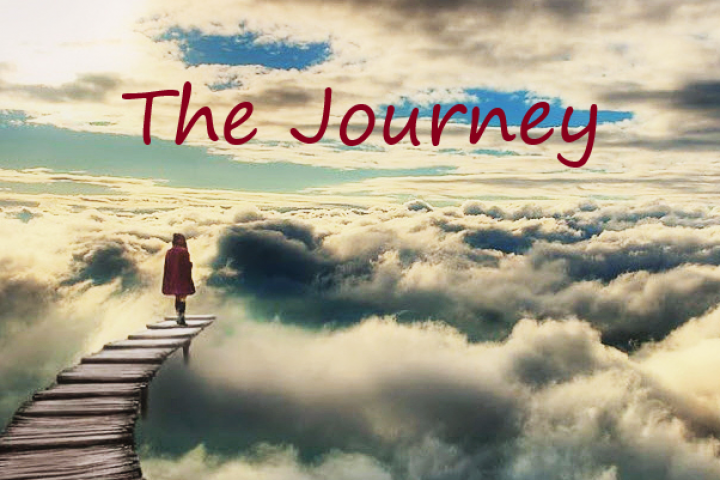 Girl walking into clouds-The Journey