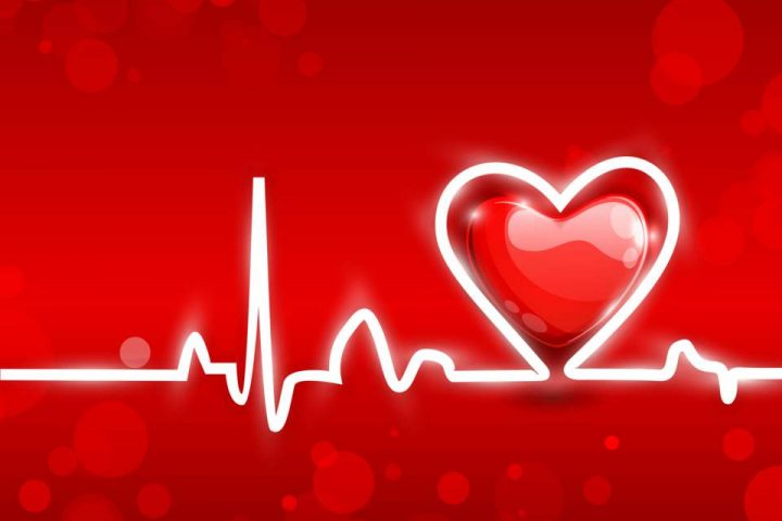 Stylized heartbeat trace with a red heart